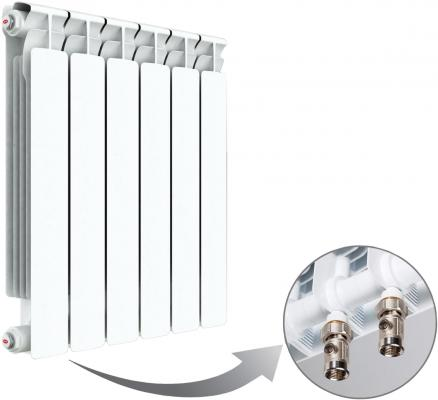 Радиатор RIFAR Monolit 500 х 6 сек НП лев (MVL) 50мм биметаллический радиатор rifar рифар b 500 нп 10 сек лев кол во секций 10 мощность вт 2040 подключение левое