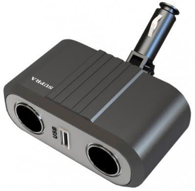 Разветвитель в прикуриватель Supra SCP 2-12U (Разветвитель в гнездо прикуривателя на 2 гнезда+USB, вход (12В))