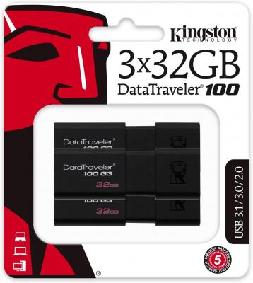 Фото - Флешка 32Gb Kingston DataTraveler 100 G3 USB 3.1 черный DT100G3/32GB-3P usb флешка leef ibridge 3 32gb черный