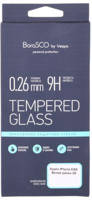 Защитное стекло 3D BoraSCO 19776 для iPhone 6 6S 0.26 мм белая рамка
