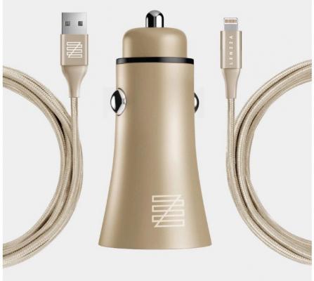 Фото - Автомобильное зарядное устройство LENZZA Razzo Metallic Car Charger. Два порта USB 5В, 2,1А. В комплекте: кевларовый кабель Lightning to USB Cable. Цвет золотой. автомобильное зарядное устройство qumo 3 0a 2xusb 1a 2a кабель apple lightning в комплекте черный 20737