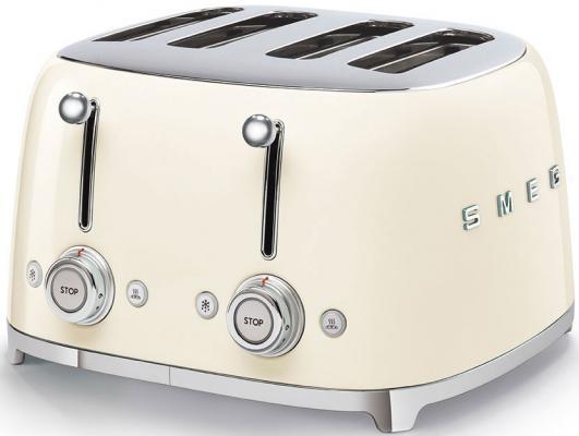 Тостеры SMEG/ Тостер на 4 ломтика, Цвет кремовый; Функции: подогрев, размораживание, багель; 6 уровней поджаривания; Съемный поддон для крошек.