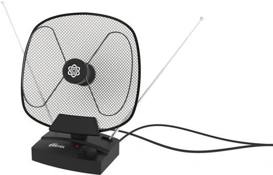 RITMIX RTA-101 AV {Активная, 220В, усиление 32 дБ, DVB-T, DVB-T2, ISDB-T, DMB-T/H, ATSC, DAB (радио), VHF:87.5-230 МГц ; UHF:470-862 МГц; FM: 87,5-108 МГц., 75 Ом, кабель 1,25м, антенны 60см} цена и фото