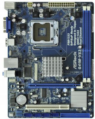 Материнская плата ASRock G41M-VS3 R2.0 <S775, iG41, 2*DDR3, PCI-E16x, SVGA, SATA, Lan, mATX, Retail>