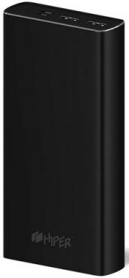 Мобильный аккумулятор Hiper MPX20000 Li-Pol 20000mAh 3A+3A+2.4A черный 2xUSB внешний аккумулятор hiper power bank mpx20000 20000mah gold
