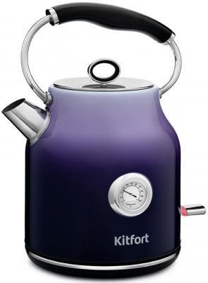 Фото - Чайник электрический KITFORT КТ-679-3 2200 Вт фиолетовый 1.7 л нержавеющая сталь чайник электрический kitfort кт 675 1 2200 вт белый 1 7 л нержавеющая сталь