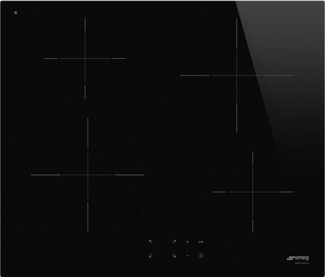 Встраиваемые электрические панели SMEG/ Индукционная, Индукционная варочная панель, 60 см, 4 конфорки, прямой край, черная