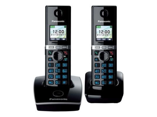 Беспроводной телефон Dect Panasonic KX-TG8052RUB Цветной, АОН, чёрный телефон dect yealink w52h dect дополнительная sip трубка