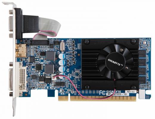 Видеокарта 1Gb <PCI-E> Gigabyte GV-N210D3-1GI с CUDA <GF210, GDDR3, 64 bit, HDCP, VGA, DVI, HDMI, Low Profile, Retail>