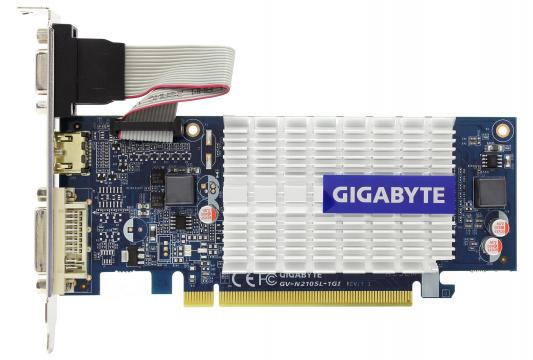 Видеокарта 1Gb <PCI-E> Gigabyte GV-N210SL-1GI с CUDA <GF210, GDDR3, 64 bit, HDCP, VGA, DVI, HDMI, Low Profile, Retail> видеокарта 6144mb msi geforce gtx 1060 gaming x 6g pci e 192bit gddr5 dvi hdmi dp hdcp retail
