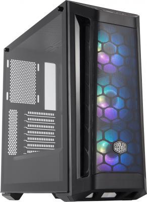 Cooler Master MasterBox MB511, 2xUSB3.0, 3x120 ARGB fan, RGB controller, 1 to 3 splitter cable, w/o PSU, Black, Black Trim, Mesh Front Panel, ATX