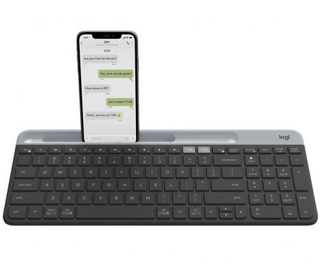 Клавиатура беспроводная Logitech Slim Wireless Bluetooth Multi-Device Keyboard K580 USB + Bluetooth черный