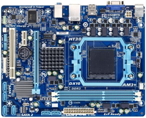 Материнская плата Gigabyte GA-78LMT-S2 <SAM3+, AMD 760G + SB710, 2*DDR3, PCI-E16x, SVGA, DVI, SATA, GB Lan,