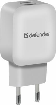 Сетевой адаптер Defender EPA-13 белый, 2xUSB, 5V/2.1А, пакет