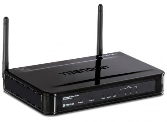 Маршрутизатор TRENDnet TEW-634GRU 802.11bgn 300Mbps 2.4 ГГц 4xLAN USB USB черный
