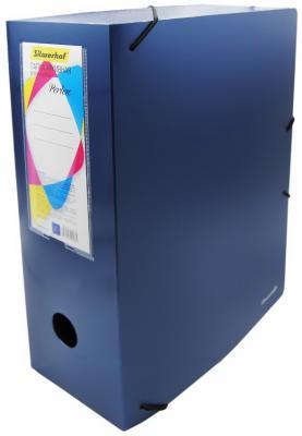 Папка архивная на резинке Silwerhof Perlen 311916-74 полипропилен 1мм корешок 120мм A4 синий металлик