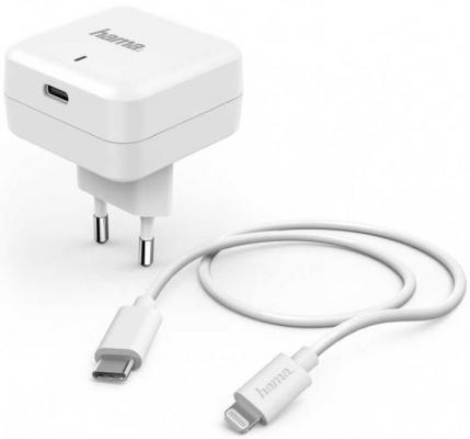 Фото - Сетевое зарядное устройство HAMA H-183316 8-pin Lightning 3 А белый сетевое зарядное устройство hama h 183265 8 pin lightning 2 4а белый