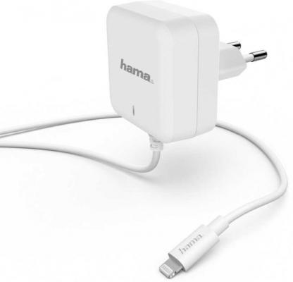 Фото - Сетевое зарядное устройство HAMA H-183318 8-pin Lightning 3 А белый сетевое зарядное устройство hama h 183265 8 pin lightning 2 4а белый