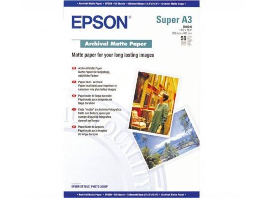 Фотобумага Epson Архивная Матовая, 192г/м2, A3+(32,9X48,3)/50л.