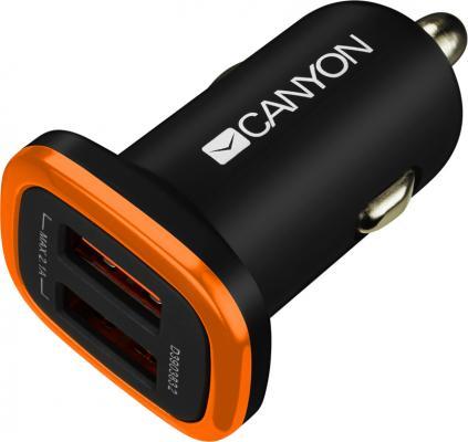Автомобильное зарядное устройство CANYON Universal 2xUSB car adapter, Input 12V-24V, Output 5V-2.1A, with Smart IC, black rubber coating with orange e
