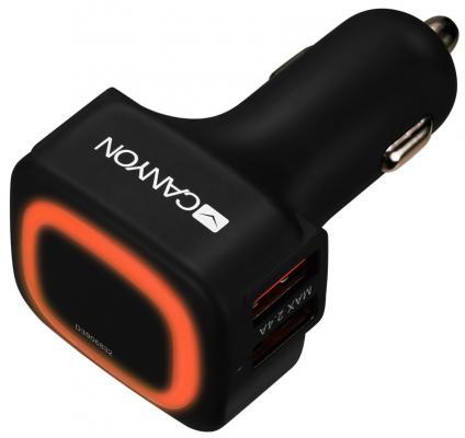 Автомобильное зарядное устройство CANYON Universal 4xUSB car adapter, Input 12V-24V, Output 5V-4.8A, with Smart IC, black rubber coating + orange LED зарядное устройство canyon cne cpb05b 5000mah li pol in 5v 2a out 5v 2 1a smart ic черный кабель 0 25m