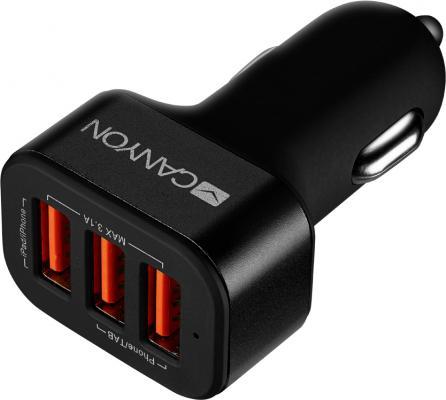 Автомобильное зарядное устройство CANYON Universal 3xUSB car adapter, Input 12V-24V, Output 5V-3.1A, black rubber coating+black metal ring (side with