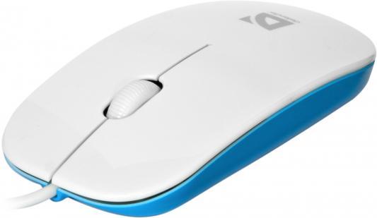 Мышь проводная DEFENDER NetSprinter 440 белый голубой USB 52443