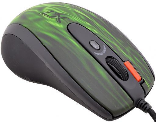 Мышь проводная A4TECH XL-750BK Green fire чёрный зелёный USB
