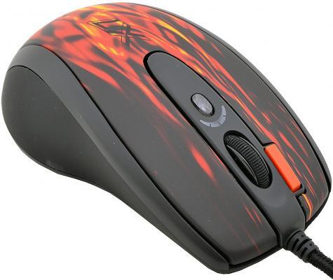Мышь проводная A4TECH XL-750BK чёрный красный USB цена