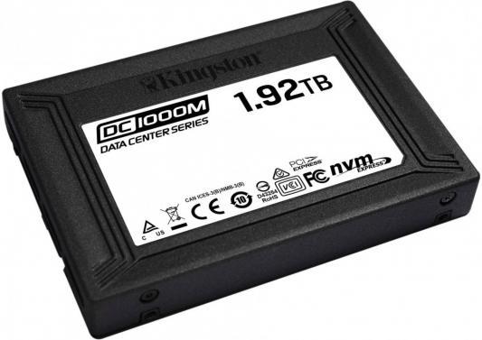 Твердотельный накопитель SSD U.2 1.92 Tb Kingston DC1000M Read 3100Mb/s Write 2600Mb/s 3D NAND TLC (SEDC1000M/1920G) твердотельный накопитель ssd 2 5 3 75 tb western digital ultrastar dc sn640 read 3100mb s write 1800mb s 3d nand tlc 0ts1962 wus4bb038d7p3e1