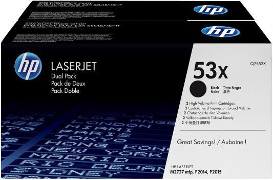 Тонер-картридж HP Q7553XD (двойная упаковка) для LJ P2015 (2x7 000 стp) картридж hp q7553xd