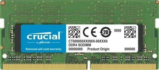 Оперативная память для ноутбука 32Gb (1x32Gb) PC4-25600 3200MHz DDR4 SO-DIMM CL22 Crucial CT32G4SFD832A оперативная память 32gb 1x32gb pc4 25600 3200mhz ddr4 dimm cl22 patriot psd432g32002