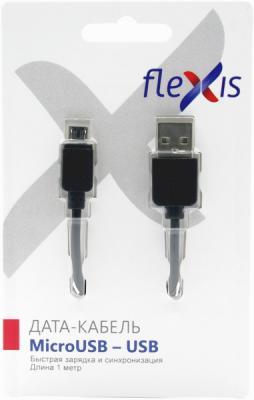 Кабель microUSB 1м Flexis Simple круглый черный FX-CAB-SMU-BL