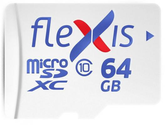 Фото - Карта памяти microSDXC Flexis, 64 Гб, UHS-I Class 10 U1, без адаптера карта памяти microsdxc 64gb cl10 u1 c адаптером flexis