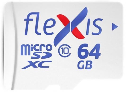 Фото - Карта памяти microSDXC 64GB Cl10 U1, c адаптером, Flexis карта памяти microsdxc 64gb cl10 u1 c адаптером flexis