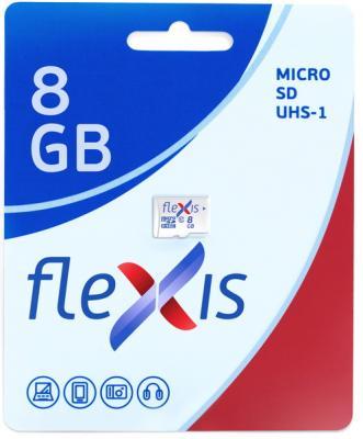 Карта памяти microSDHC 8GB Cl10 U1, с адаптером, Flexis