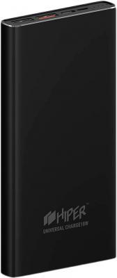Внешний аккумулятор HIPER Power bank MPS10000, 10000 mAh, QC 3.0/PD 18W, input 5V-12V USB-C, microUSB 5V/12W, output 2xUSB-A, USB-C; 12W + Black