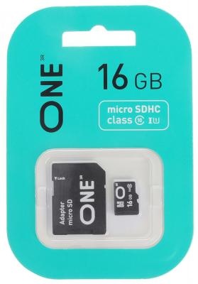 Фото - 16GB карта памяти ONE MicroSDHC UHS-I Class 10 15/10 MB/s + SD adapter карта памяти microsdhc uhs i u1 dato 16 гб 40 мб с class 10 dttf016guic10 1 шт