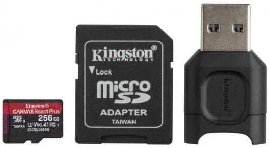 Фото - Флеш карта microSDXC 256Gb Kingston microSDXC, UHS-II Class U3 V30 A2, чтение: 285Мб/с, запись: 165Мб/с, с адаптером и USB-ридером <MLPMR2/256GB> карта памяти sdxc kingston canvas react plus 256 гб uhs ii class u3 v90 с usb ридером