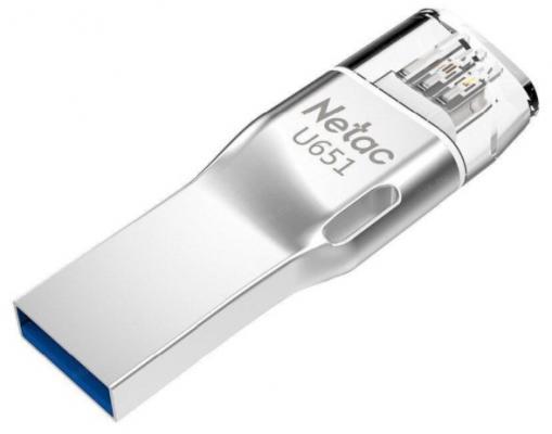 Фото - Флешка 64Gb Netac U651 USB 3.0 Lightning серебристый флешка netac u505 usb 3 0 64gb черный