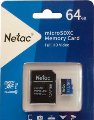 Фото - Флеш карта microSDHC 64GB Netac P500 <NT02P500STN-064G-R> (с SD адаптером) 80MB/s карта памяти netac nt02p500stn 016g s