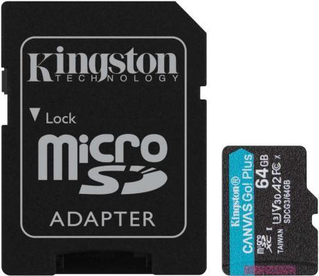 Фото - Флеш карта microSDXC 64Gb Kingston,microSDXC, UHS-II Class U3 V30 A2, чтение: 170Мб/с, запись: 70Мб/с, с адаптером <SDCG3/64GB> карта памяти kingston canvas go plus microsdxc uhs i u3 v30 a2 256gb с адаптером