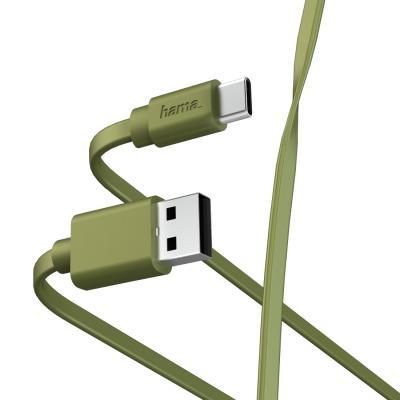 Фото - Кабель Type-C 1м HAMA 00187231 плоский зеленый кабель borasco usb type c 2а 1м белый