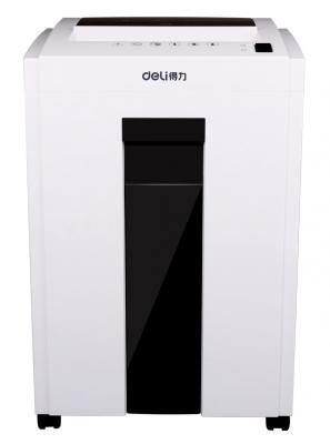 Шредер Deli 9953 белый (секр.P-5)/фрагменты/8лист./23лтр./скрепки/скобы/пл.карты/CD