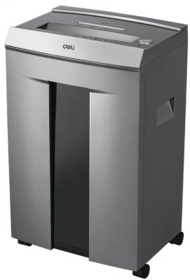 Шредер Deli 9905 серый с автоподачей (секр.P-5)/фрагменты/10лист./20лтр./скрепки/скобы/пл.карты/CD