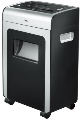 Шредер Deli 9915 черный (секр.P-4)/фрагменты/10лист./21лтр./скрепки/скобы/пл.карты/CD