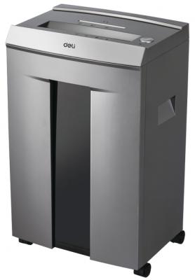 Шредер Deli 9906 серый с автоподачей (секр.P-5)/фрагменты/16лист./30лтр./скрепки/скобы/пл.карты/CD