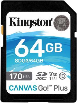 Фото - Флеш карта SD 64GB Kingston SDXC Class 10 UHS-I U3 V30 Canvas Go Plus 170MB/s флеш карта sd 128gb kingston sdxc class 10 uhs i u3 v30 canvas go plus 170mb s