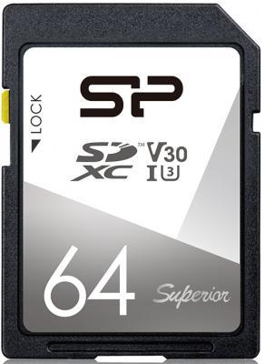 Фото - Флеш карта SD 64GB Silicon Power Superior SDXC Class 10 UHS-I U3 V30 100/80 Mb/s карта памяти silicon power micro sdxc 256gb elite class 10 uhs i u1 adp 85 15 mb s