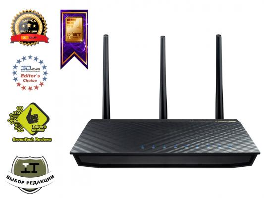 Беспроводной маршрутизатор ASUS RT-AC66U 802.11aс 1300Mbps 2.4 ГГц 5 ГГц 4xLAN USB черный asus rt ac 51 u